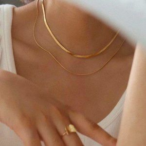 NEW 18K Gold Plated Double Layer Chain Necklace